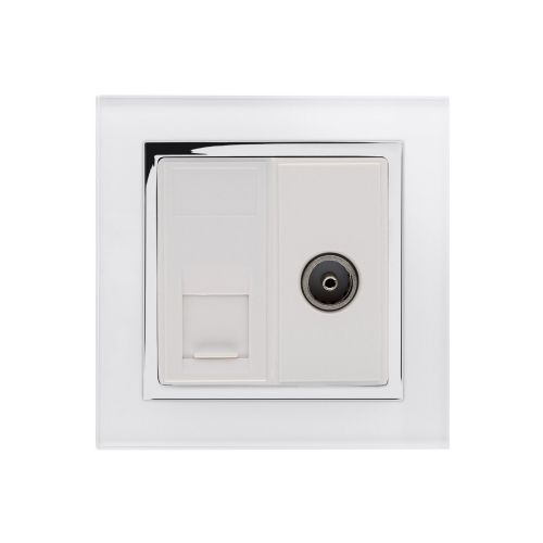 RetroTouch Cat 6/TV Socket White Glass CT 04240